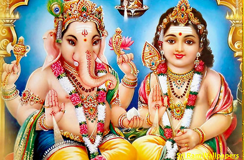 Lord Kartikeya and Ganesha