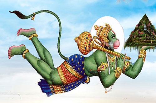 Hanuman ji Fly in the Sky Mobile Picture
