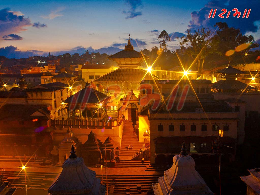 Pashupatinath temple at night